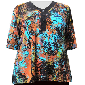 Sunset Forest 3/4 Sleeve Y-Neck Placket Blouse Women's Plus Size Top