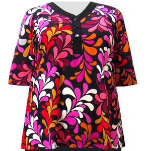 Vibrant Vines 3/4 Sleeve Y-Neck Placket Blouse Women's Plus Size Top