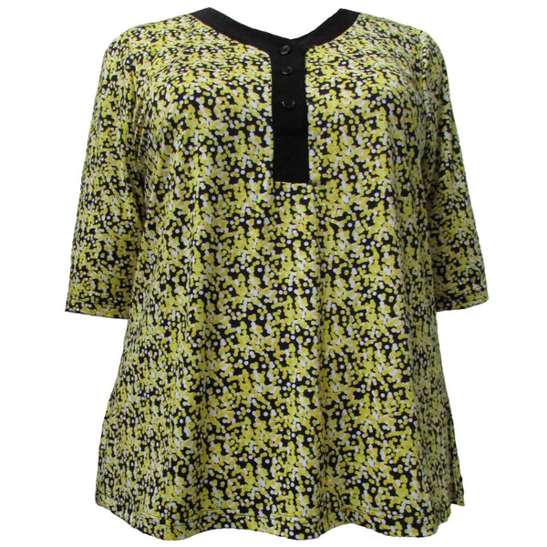 3/4 Sleeve Y-Neck Placket Blouse