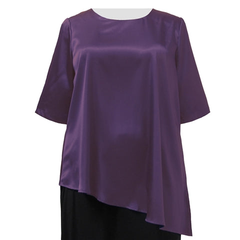 Aubergine Asymmetrical 3/4 Sleeve Round Neck Pullover Women's Plus Size Pullover Top