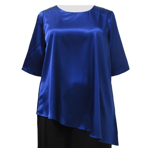 Cobalt Asymmetrical 3/4 Sleeve Round Neck Pullover Women's Plus Size Pullover Top
