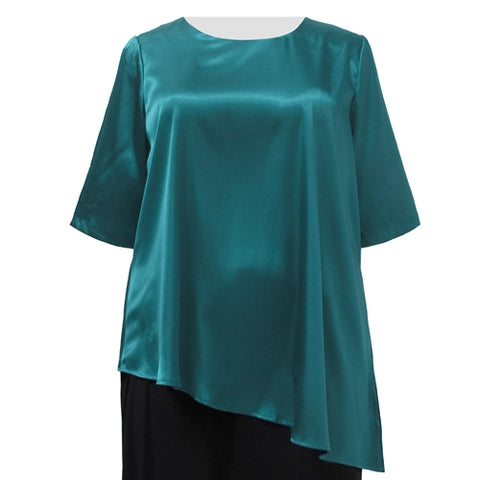 Teal Asymmetrical 3/4 Sleeve Round Neck Pullover Women's Plus Size Pullover Top
