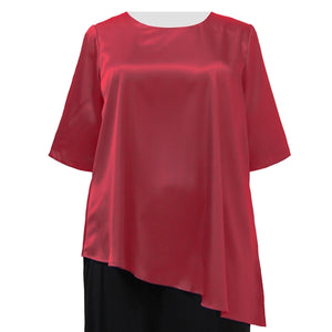 Red Asymmetrical 3/4 Sleeve Round Neck Pullover Women's Plus Size Pullover Top