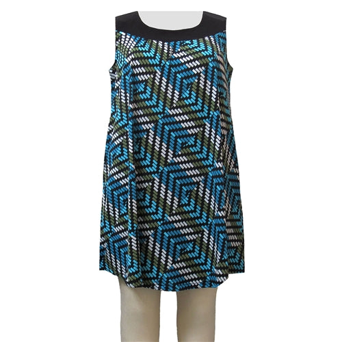 Blue Geometric Stephanie Cover Up Dress Women's Plus Size Dress