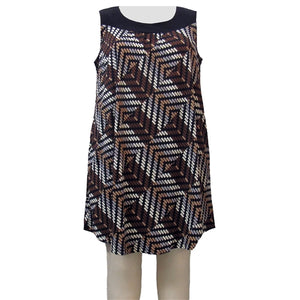 Brown Geometric Stephanie Cover Up Dress Women's Plus Size Dress