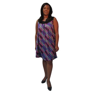 Purple Geometric Stephanie Cover Up Dress Women's Plus Size Dress