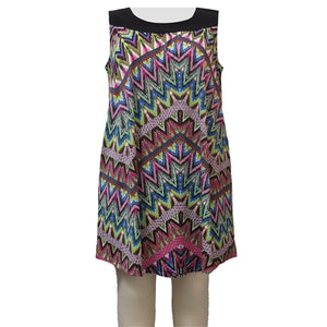 Vibrant Abstract Chevron Stephanie Cover Up Dress Women's Plus Size Dress