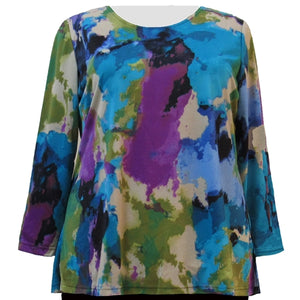 Abstract Watercolor Long Sleeve Round Neck Pullover Top Women's Plus Size Top
