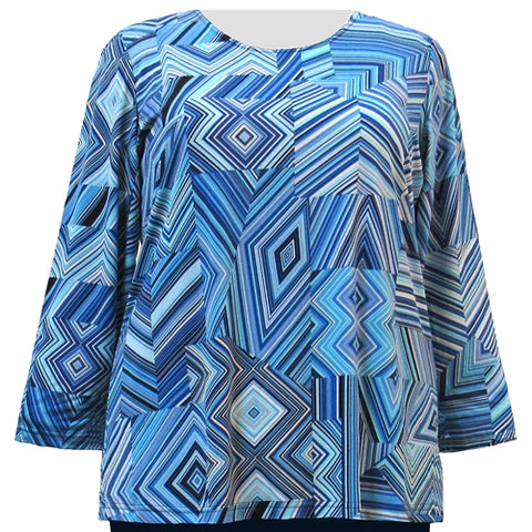 Blue Linear Geometric Long Sleeve Round Neck Pullover Top Women's Plus Size Top