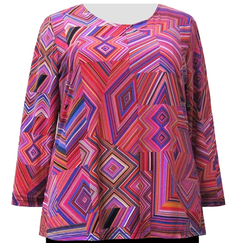 Fuchsia Linear Geometric Long Sleeve Round Neck Pullover Top Women's Plus Size Top