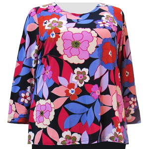 Fuchsia Peony Long Sleeve Round Neck Pullover Top Women's Plus Size Top