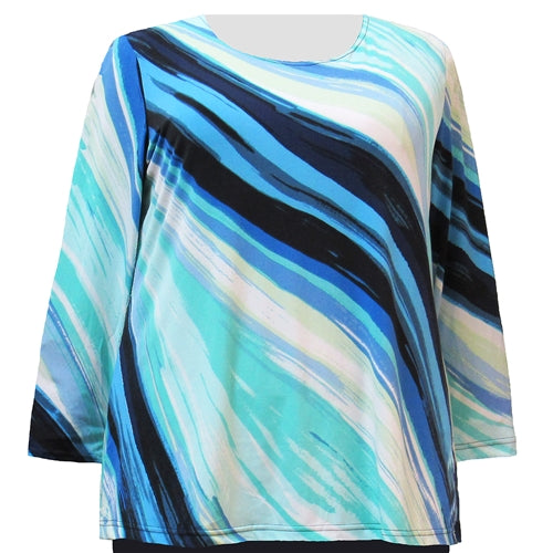 Mint Diagonal Stripe Long Sleeve Round Neck Pullover Top Women's Plus Size Top