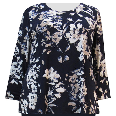 Navy Flowers Long Sleeve Round Neck Pullover Top Women's Plus Size Top