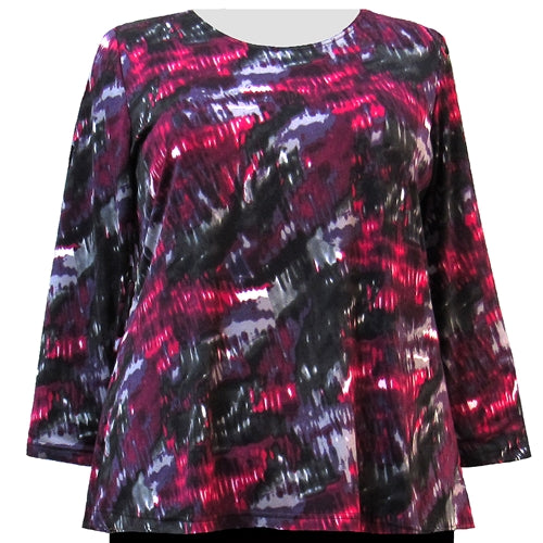 Purple Rain Long Sleeve Round Neck Pullover Top Women's Plus Size Top