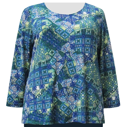 Patchwork Paisley Long Sleeve Round Neck Pullover Top Women's Plus Size Top