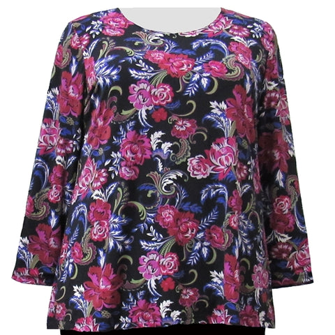 Rose Flourish Long Sleeve Round Neck Pullover Top Women's Plus Size Top