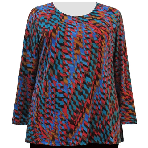 Spice Harlequin Long Sleeve Round Neck Pullover Top Women's Plus Size Top