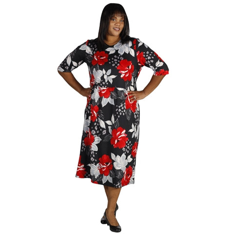 Peony Black Easy Fit - Easy Comfort Dress - Women's Plus Size Dress