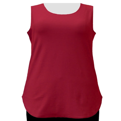 Red Cotton Knit Tank Top Women's Plus Size Tank Top