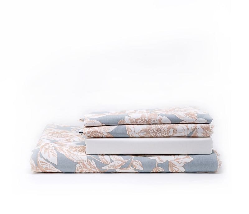 golden peonies luxury floral bed sheet