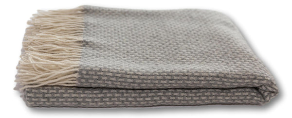 ACASA Grey chunky merino wool blanket throw