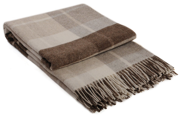 Toffee brown superfine wool plaid blanket