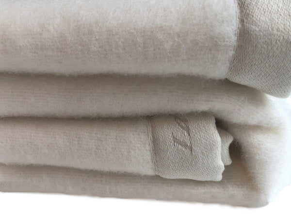 Pure White 100% Lambswool Blanket
