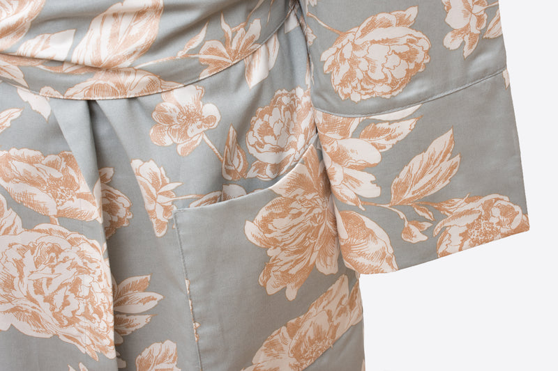 floral satin - sateen robe with tie enclosure - ACASA