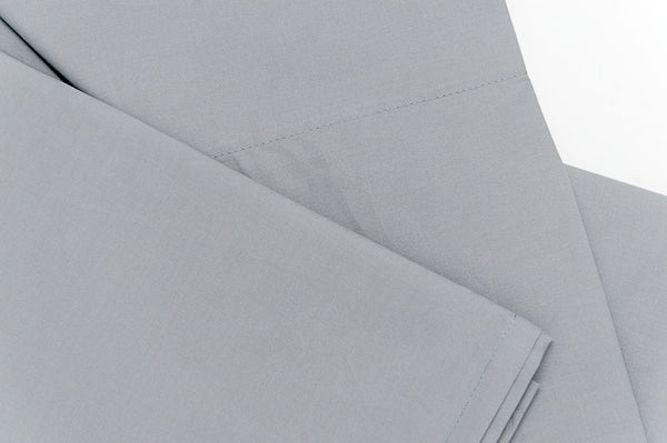 grey cotton percale flat sheet - close-up look