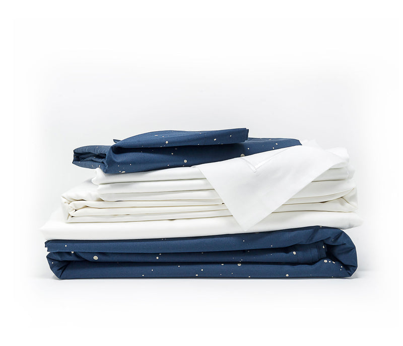 Contemporary luxury bedding - navy blue and pure white sheet set