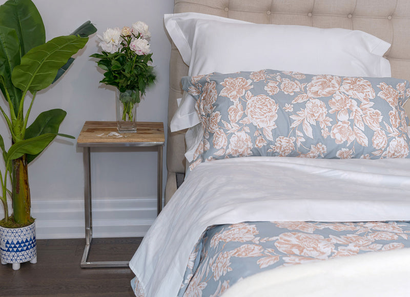 golden peonies and light blue sateen sheets set