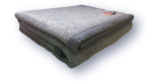 Stone Grey 100% Lambswool Blanket