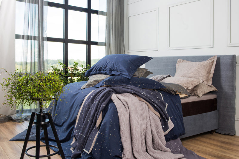 Navy blue with gold sateen luxury bedding set