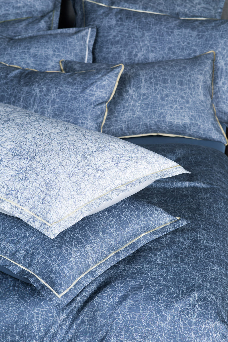 steel blue and light blue designer pillow shams