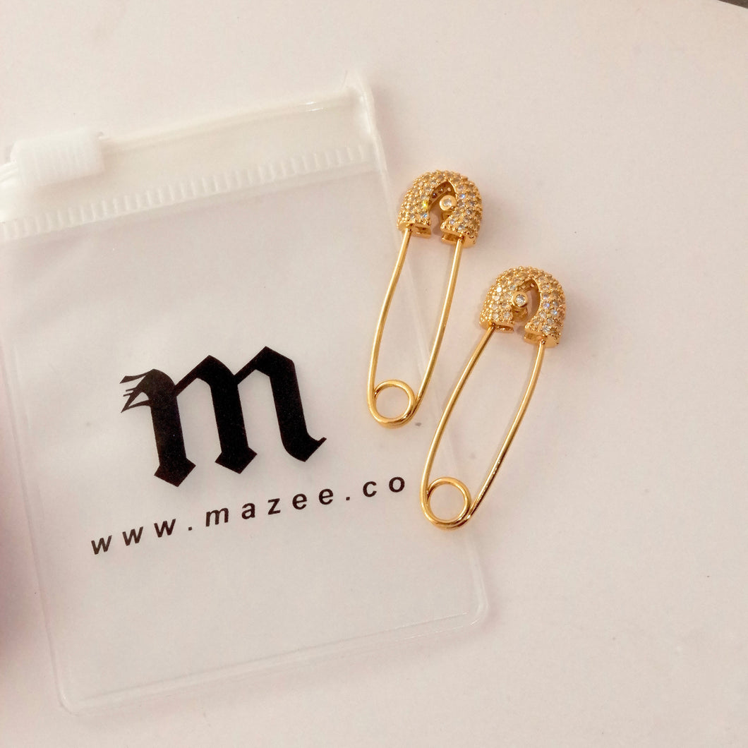 Safety Pin Diamond Earrings
