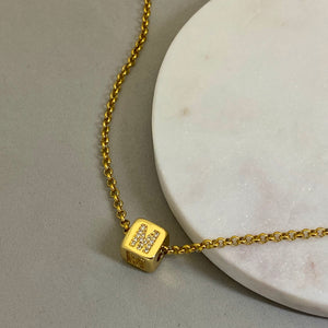 Cube Letter Diamond Necklace