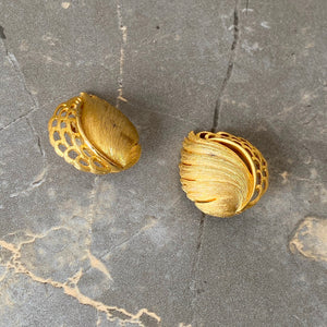 Vintage Golden Monstera Clip ons