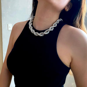 Mega Rope Necklace - Silver