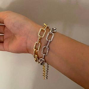 Cable Diamond Bracelet - Silver