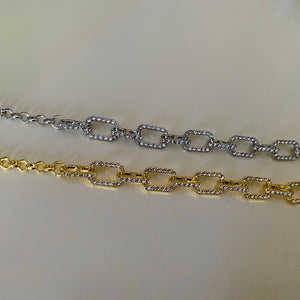 Cable Diamond Necklace - Silver