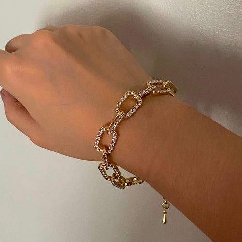 Cable Diamond Bracelet - Gold