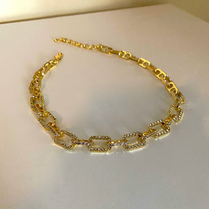 Cable Diamond Necklace - Gold