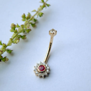 Floral Diamond and Ruby Belly Button Ring 14K Solid Gold, Floating Navel Bar