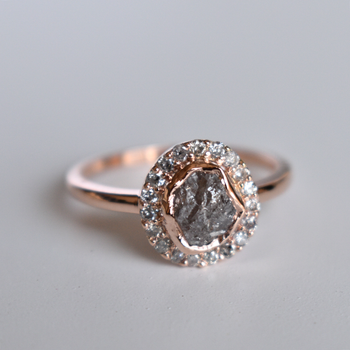 Grey Rough Diamond Ring With Halo In Salt and Pepper, 14K Rose Gold Ring (LR1883)