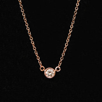 Bezel Baby Diamond 14K Solid Gold Chain Layered Necklace-Abhika Jewels