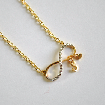 Infinity Initial and Heart Necklace in 14K Gold & Diamond (LP148)