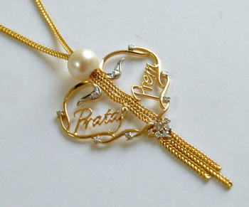 Two name Personalised Heart Necklace in 18K Yellow Gold (LP042)