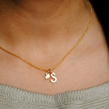Custom Made 14K Gold Initial Heart Charm Initial Necklace (LP065)