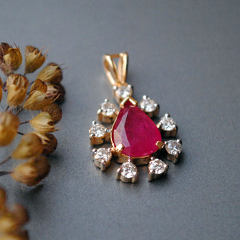 Pear Shaped Ruby and Diamond Halo Pendant in 14K Solid Gold