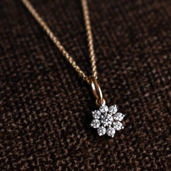 Dainty Diamond Cluster Flower Pendant Necklace in 14k Gold for Women (LP160)